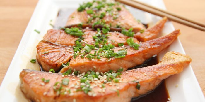 Food Salmon Teriyaki Cooking