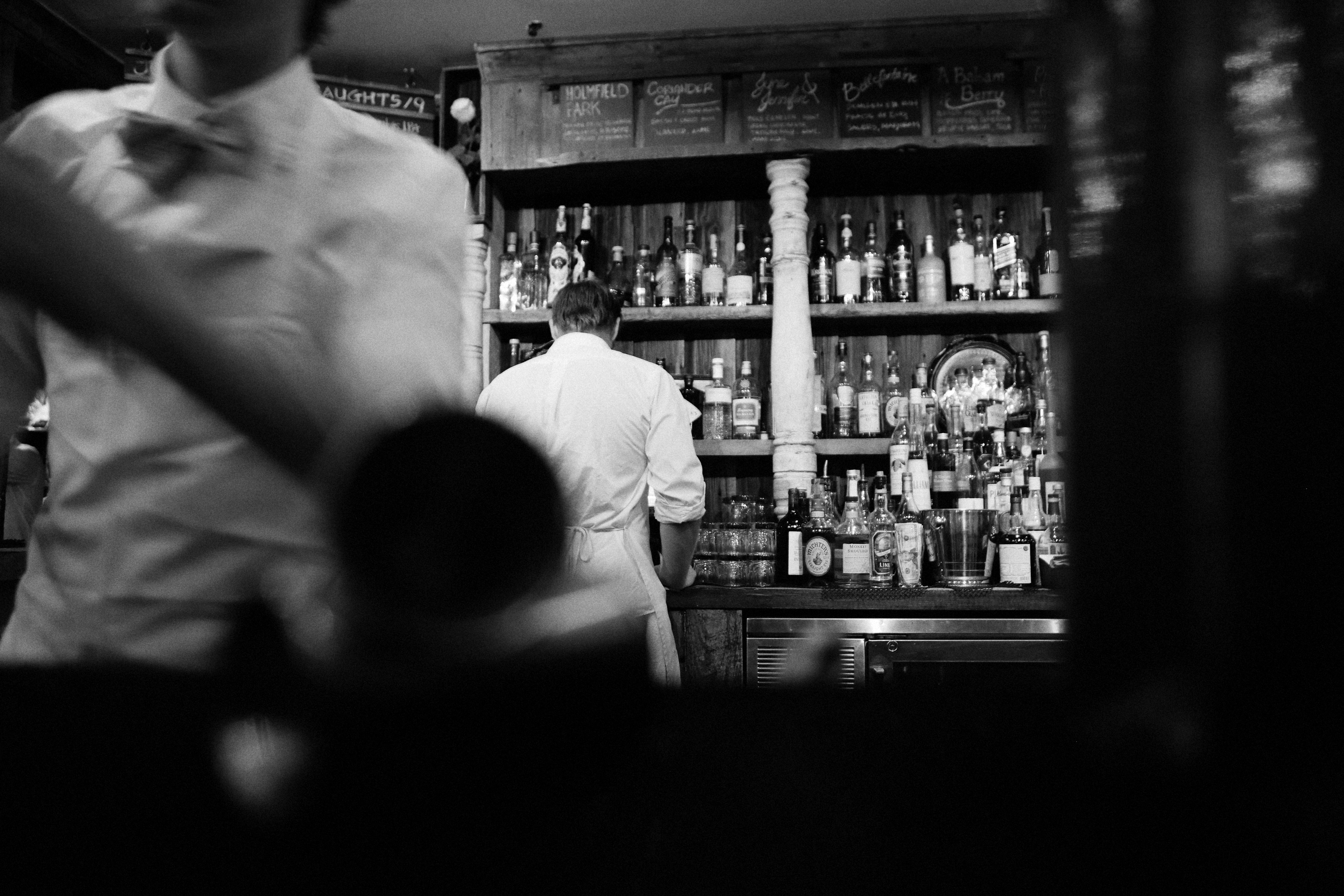 Black And White Alcohol Bar Barkeeper